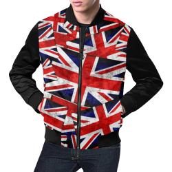 Union Jack British UK Flag (Vest Style) Black All Over Print Bomber Jacket for Men (Model H19)