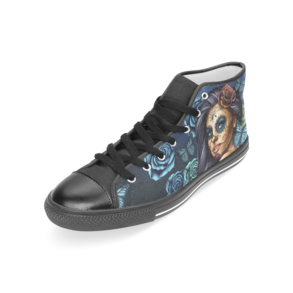 Calavera Turquoise Black Women's Classic High Top Canvas Shoes (Model 017)