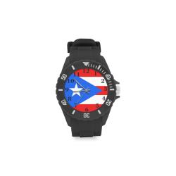 Puerto Rico Flag Sport Rubber Strap Watch(Model 301)