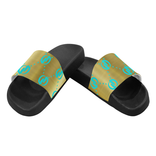 OG LCC GOLD TURQUOISE Men's Slide Sandals (Model 057)