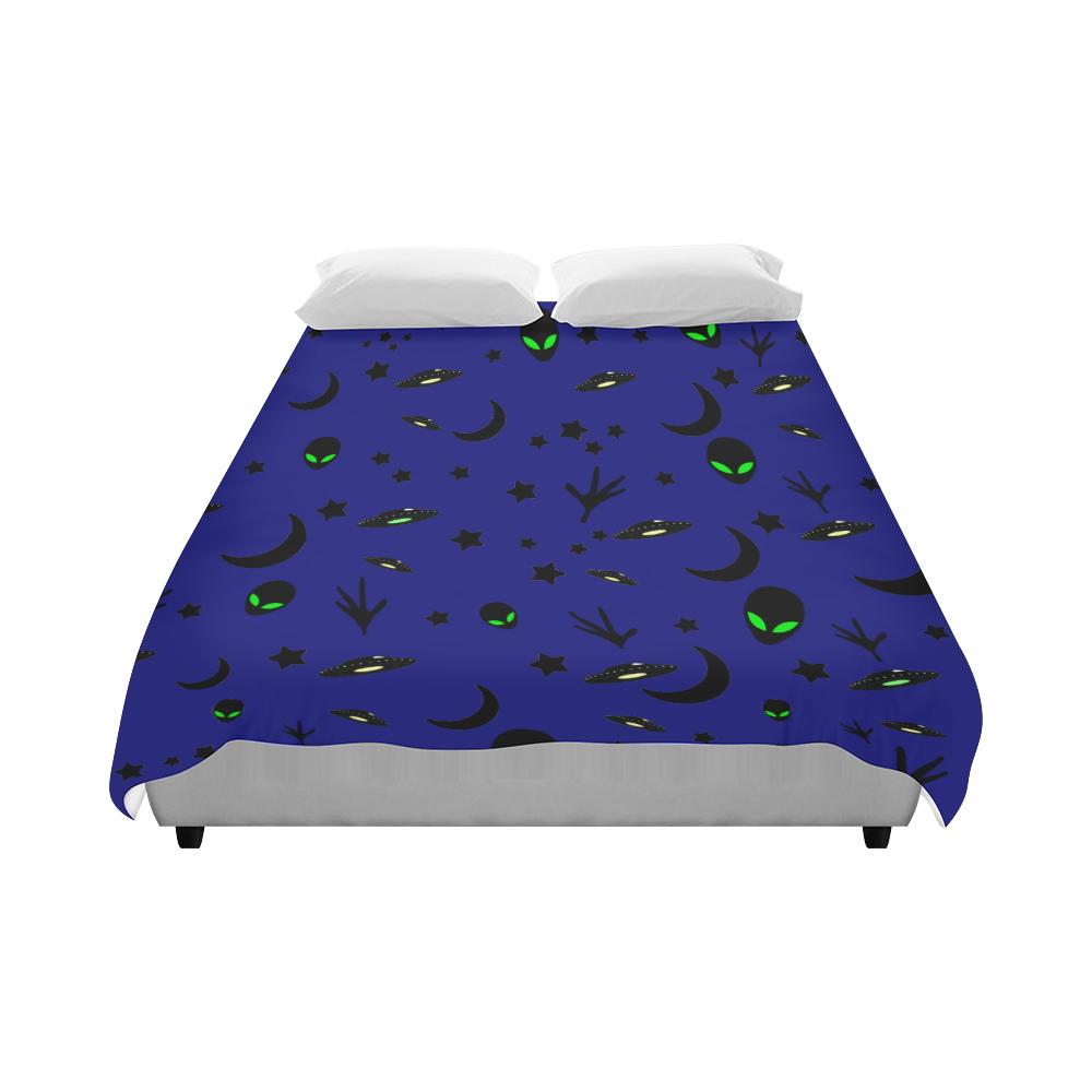 """Alien Flying Saucers Stars Pattern Duvet Cover 86""""x70"""" ( All-over-print)"""
