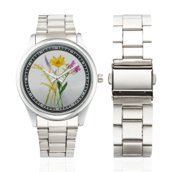 SERIES JASMIN WATERCOLOR FLOWERS Men's Stainless Steel Watch(Model 104)