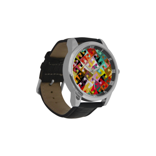 Colorful shapes Men's Leather Strap Large Dial Watch(Model 213)
