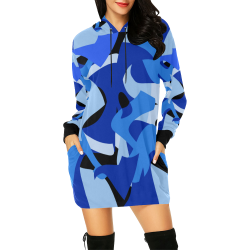 Camouflage Abstract Blue and Black All Over Print Hoodie Mini Dress (Model H27)