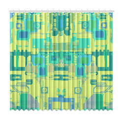 """Random Shapes Abstract Pattern Window Curtain 50""""x96""""(Two Piece)"""