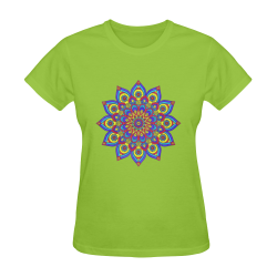 Brilliant Star Mandala Olive Green Sunny Women's T-shirt (Model T05)