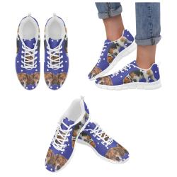 Beagle White Women's Breathable Running Shoes (Model 055)