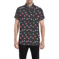 Pink-Blue Hearts-Wild Thing-Hot Stuff on Charcoal Men's All Over Print Short Sleeve Shirt (Model T53)