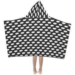 Clouds with Polka Dots on Black Kids' Hooded Bath Towels