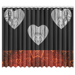 """Hearts Graphic Illustration Window Curtain 50""""x84""""(Two Piece)"""