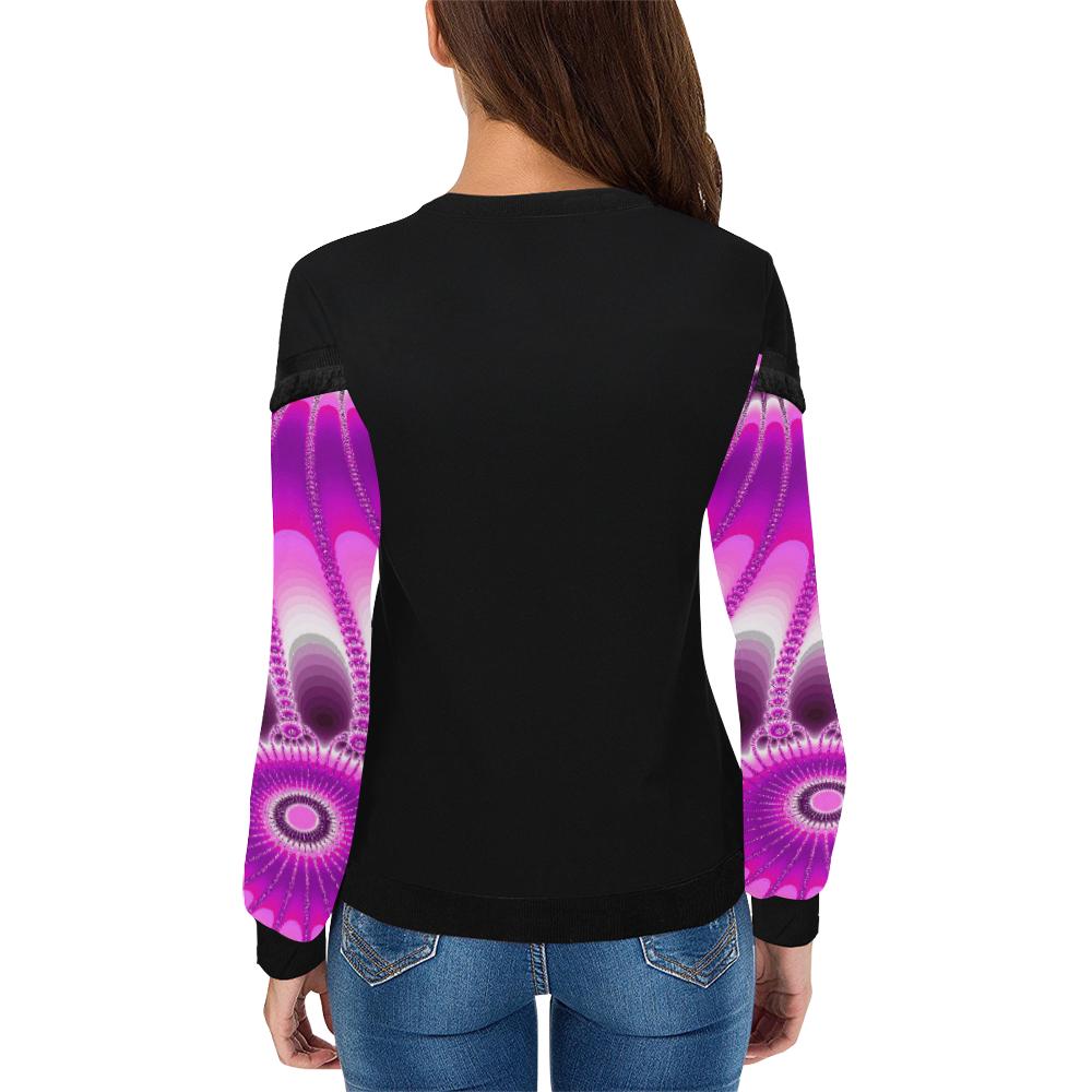Fuchsia Sunflower Women's Fringe Detail Sweatshirt (Model H28)