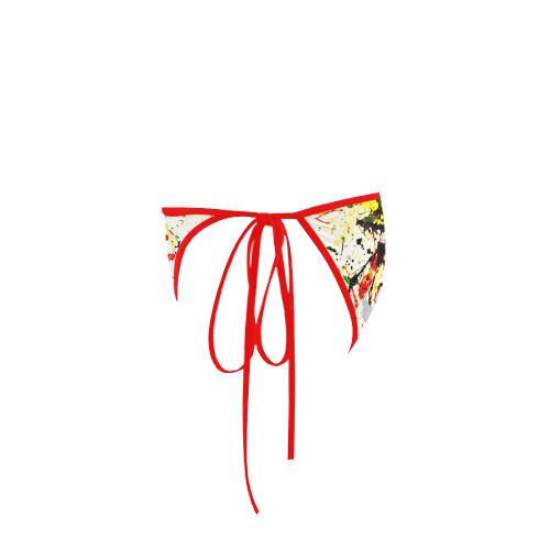 Yellow & Black Paint Splatter (Red Straps) Custom Bikini Swimsuit Bottom