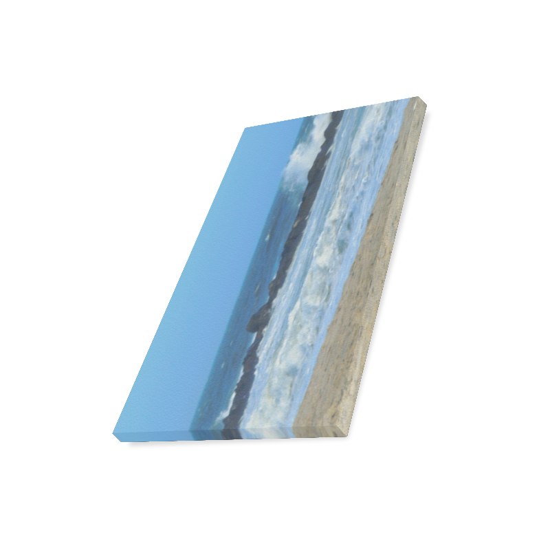 "Cape May NJ ocean beach rocks photography canvas print Canvas Print 16""x20"""