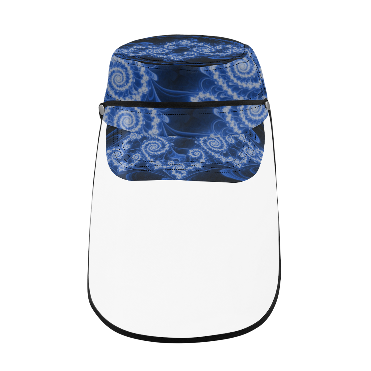 Delicate Blue White Lace Fractal Abstract Military Style Cap (Detachable Face Shield)