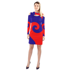Red and Blue Curlicue Swirls Cold Shoulder Long Sleeve Dress (Model D37)