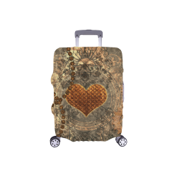 "Steampuink, rusty heart with clocks and gears Luggage Cover/Small 18""-21"""