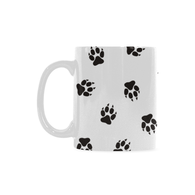 Footprints DOG black on clear background Custom White Mug (11OZ)