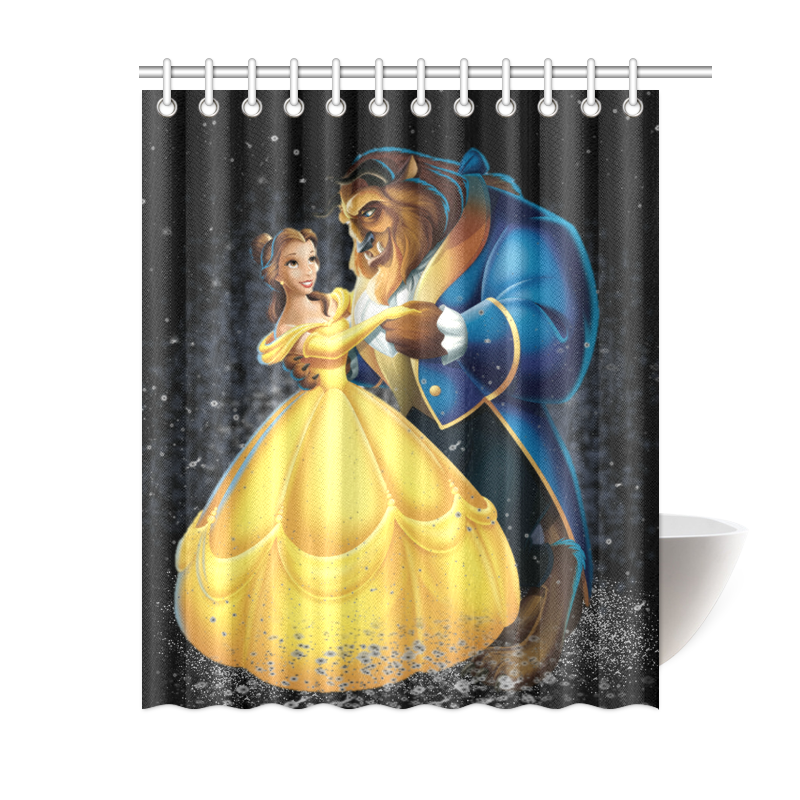 Popular Printed Beauty And The Beast Bathroom Shower Curtain 60 X 72 Inch