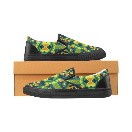 Modern Geometric Pattern Women's Unusual Slip-on Canvas Shoes (Model 019)
