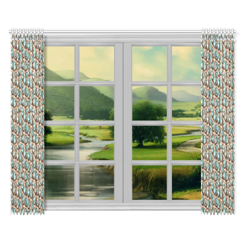"""Green crystals Window Curtain 52""""x84""""(Two Pieces)"""