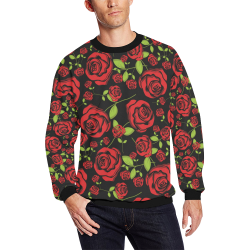 Red Roses on Black All Over Print Crewneck Sweatshirt for Men (Model H18)
