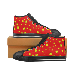 Yellow Hearts Floating on Red and Black Men's Classic High Top Canvas Shoes (Model 017)
