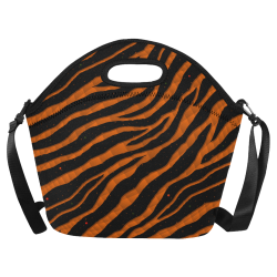 Ripped SpaceTime Stripes - Orange Neoprene Lunch Bag/Large (Model 1669)