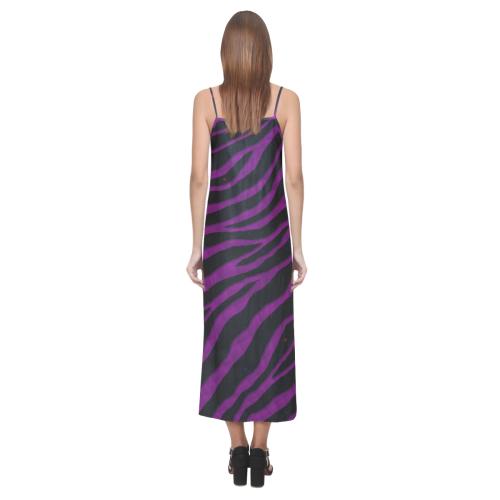Ripped SpaceTime Stripes - Purple V-Neck Open Fork Long Dress(Model D18)