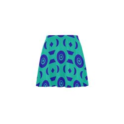 Blue Geometric Shapes in Turquoise Mini Skating Skirt (Model D36)