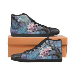 Cherry blossomL Women's High Top Canvas Shoes (Model 002)