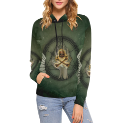 Skull in a hand All Over Print Hoodie for Women (USA Size) (Model H13)