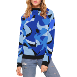 Camouflage Abstract Blue and Black High Neck Pullover Hoodie for Women (Model H24)