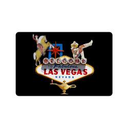 """Las Vegas Welcome Sign on Black Doormat 24""""x16"""""""