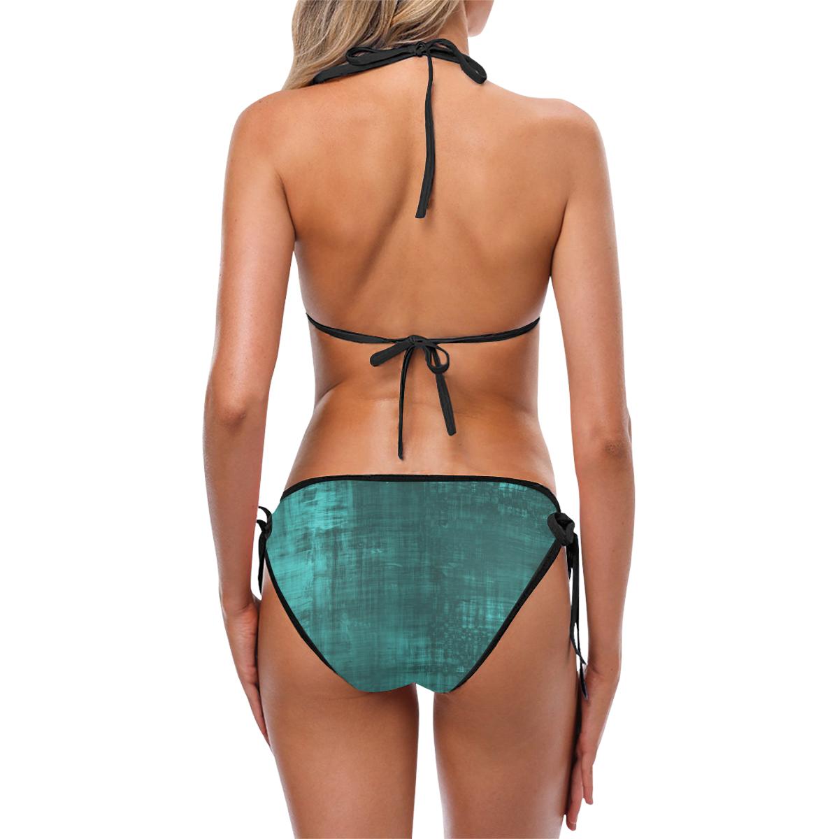 Turquoise Green Grunge Custom Bikini Swimsuit (Model S01)