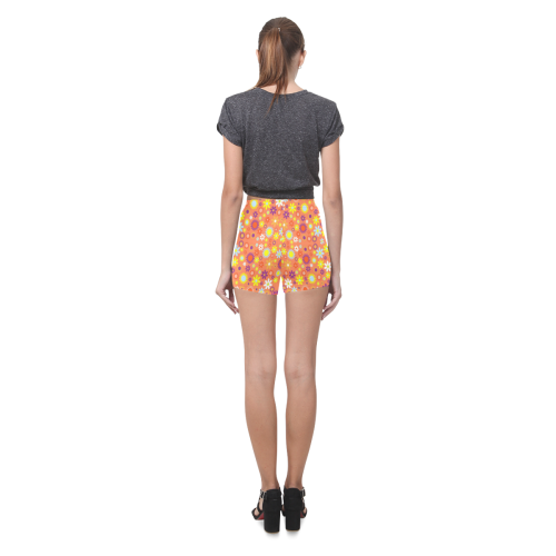 Groovy Floral Pattern on Coral Background Briseis Skinny Shorts (Model L04)