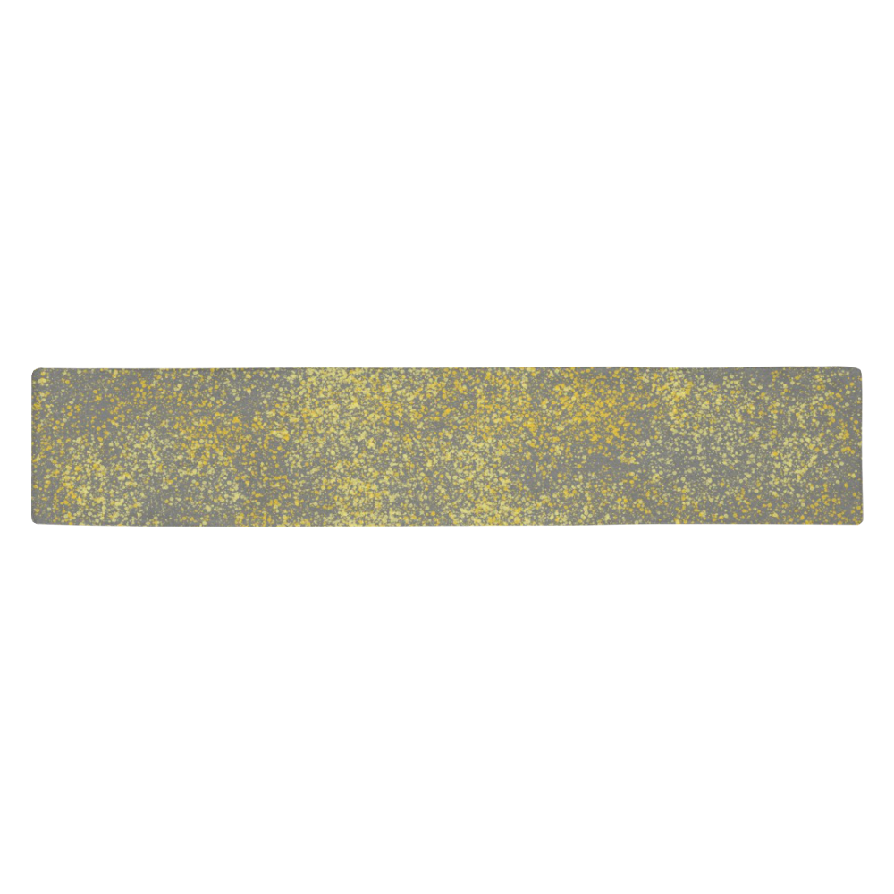 Gray and Yellow Flicks 8708 Table Runner 14x72 inch