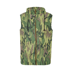 Military Camo Green Woodland Camouflage All Over Print Sleeveless Zip Up Hoodie for Men (Model H16)