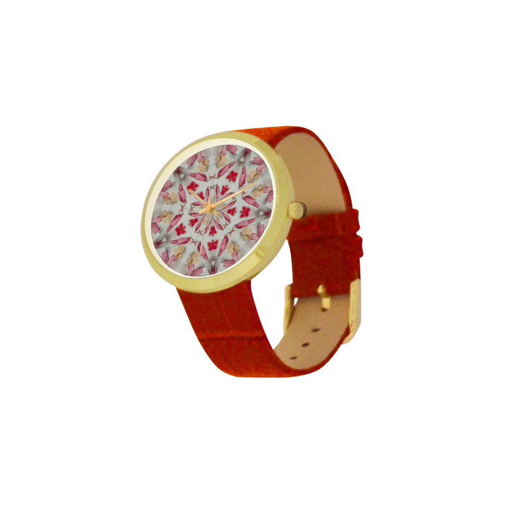 Love and Romance Gingham and Heart Shapped Cookies Women's Golden Leather Strap Watch(Model 212)