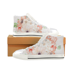 PEACH Dreams Shoes, Watercolor Flowers Women's Classic High Top Canvas Shoes (Model 017)