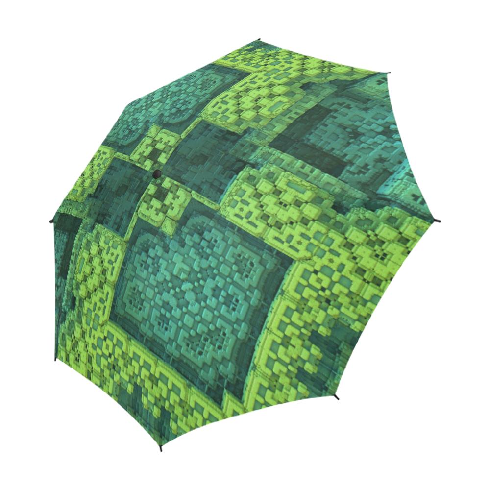 Green Theme 3D Mosaic Semi-Automatic Foldable Umbrella (Model U05)