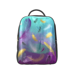 Dancing Feathers - Turquoise and Purple Popular Backpack (Model 1622)