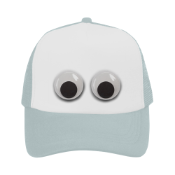 Large Funny Googly Eyes blue Trucker Hat