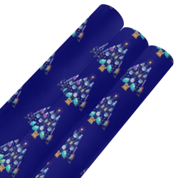 """Oh Chemist Tree, Oh Chemistry, Science Christmas on Blue Gift Wrapping Paper 58""""x 23"""" (3 Rolls)"""