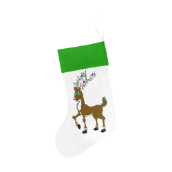 Rudy Reindeer With Lights White/Green Christmas Stocking