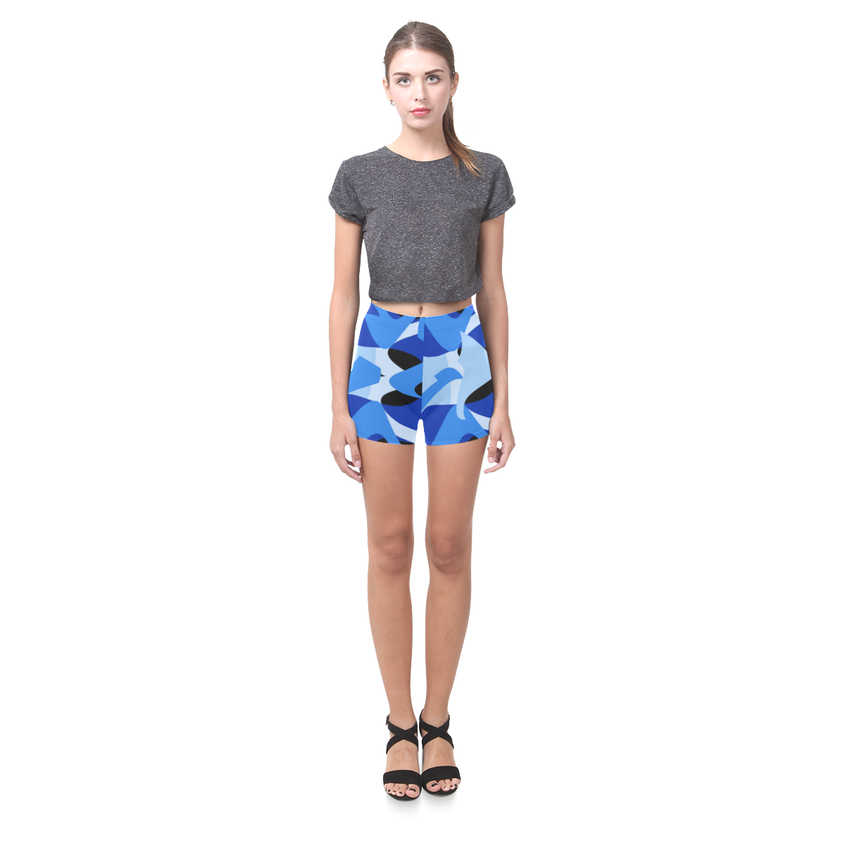 A201 Abstract Blues Camo Briseis Skinny Shorts (Model L04)