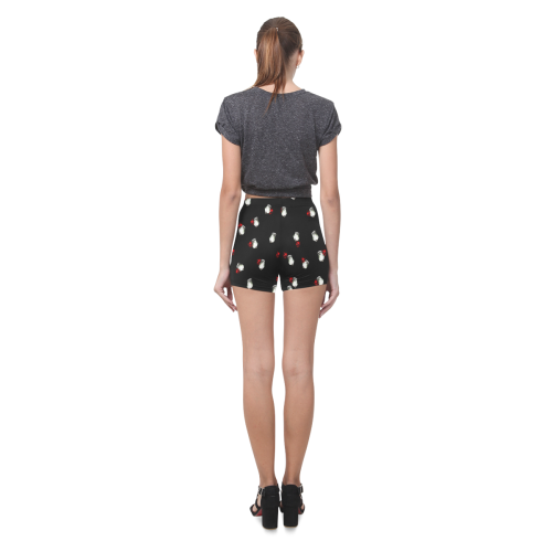White and Red Roses Briseis Skinny Shorts (Model L04)