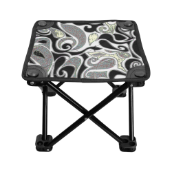 abstract doodle in black and white Folding Fishing Stool