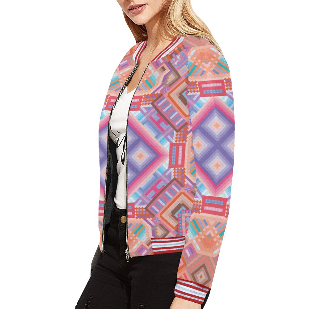Researcher All Over Print Bomber Jacket for Women (Model H21)