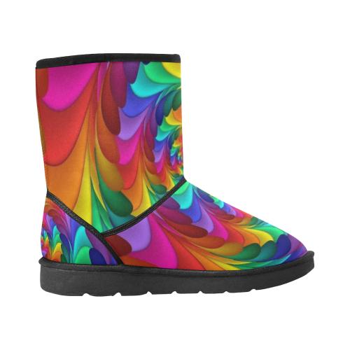 RAINBOW CANDY SWIRL Custom High Top Unisex Snow Boots (Model 047)