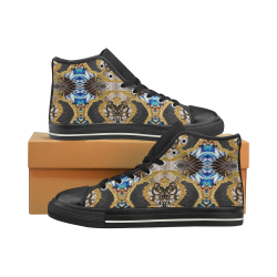 Luxury Abstract Design High Top Canvas Women's Shoes/Large Size (Model 017)